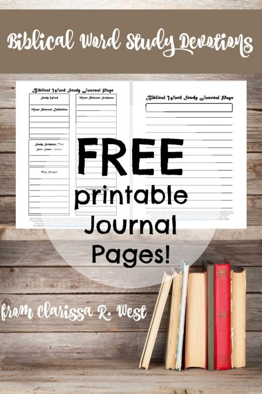 Biblical Word Study Devotions with free printable journal pages