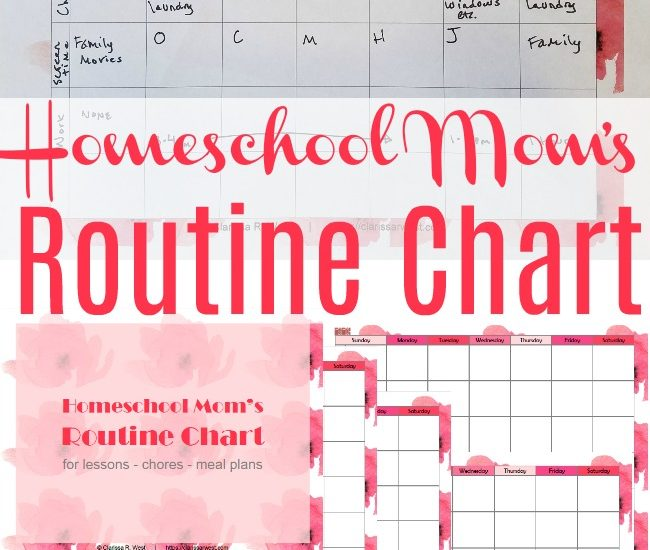 Homeschool Mom's Routine Chart - 4 chart styles to download and printa as needed, un-dated!