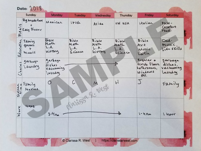 Homeschool Mom's Routine Chart SAMPLE