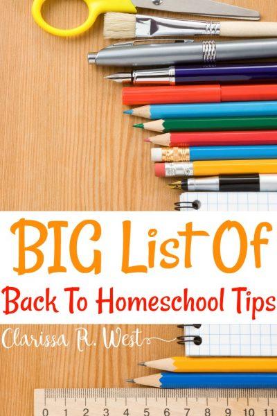 Big List Of Back To Homeschool Tips
