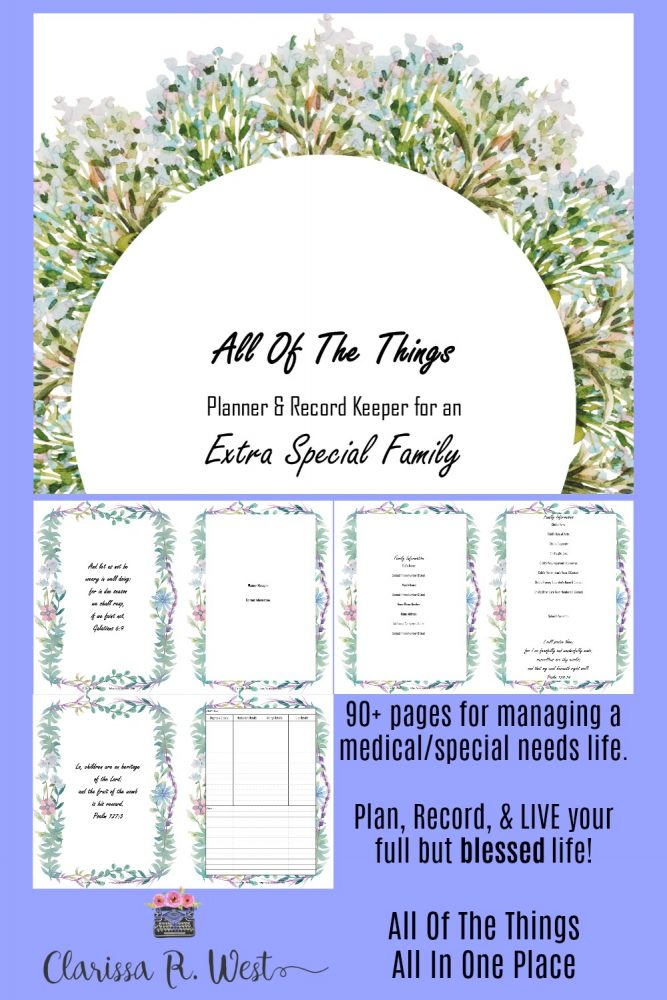 All Of The Things Planner & Record Keeper for an Extra Special Family Sample Pages