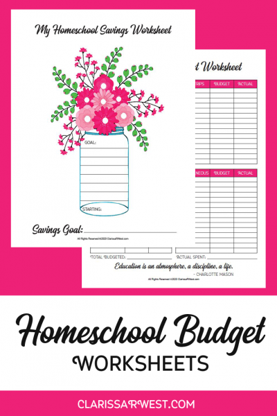Homeschool Budget Worksheets