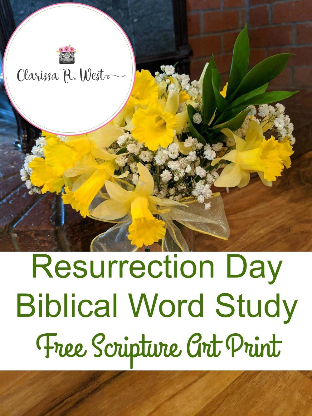 Resurrection Day Biblical Word Study | FREE Scripture Art Print